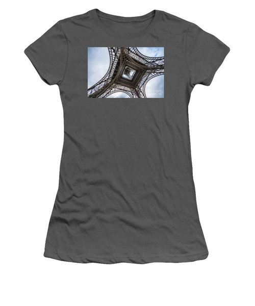 Abstract Eiffel Tower Looking Up 2 Women's T-Shirt (Junior Cut) by Mike Reid