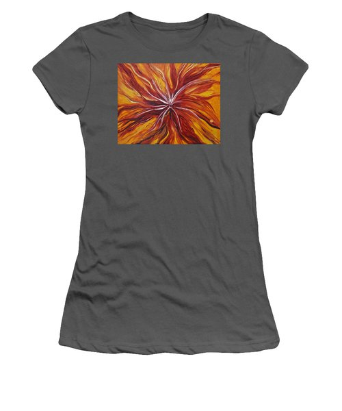 Abstract Orange Flower Women's T-Shirt (Athletic Fit)