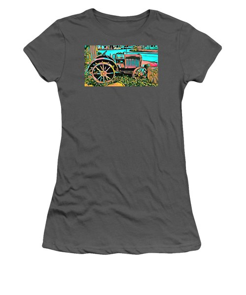Women's T-Shirt (Junior Cut) featuring the digital art Abstract Tractor Los Olivos California by Floyd Snyder