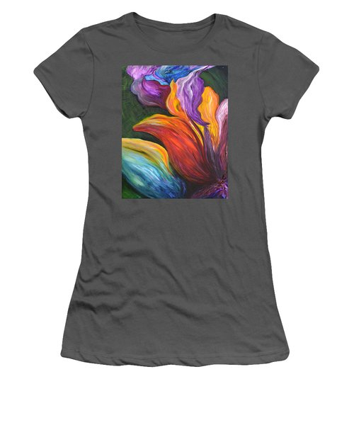 Abstract Vibrant Flowers Women's T-Shirt (Athletic Fit)