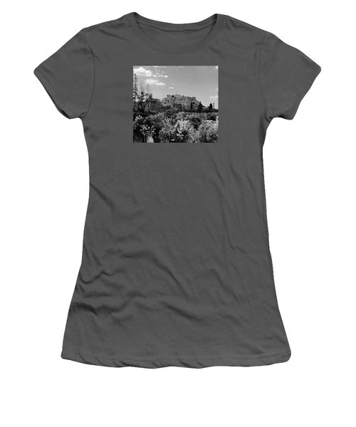 Women's T-Shirt (Junior Cut) featuring the photograph Acropolis Black And White by Robert Moss