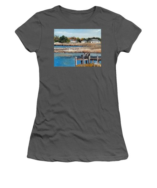 Women's T-Shirt (Junior Cut) featuring the painting Across The White Oak by Jim Phillips