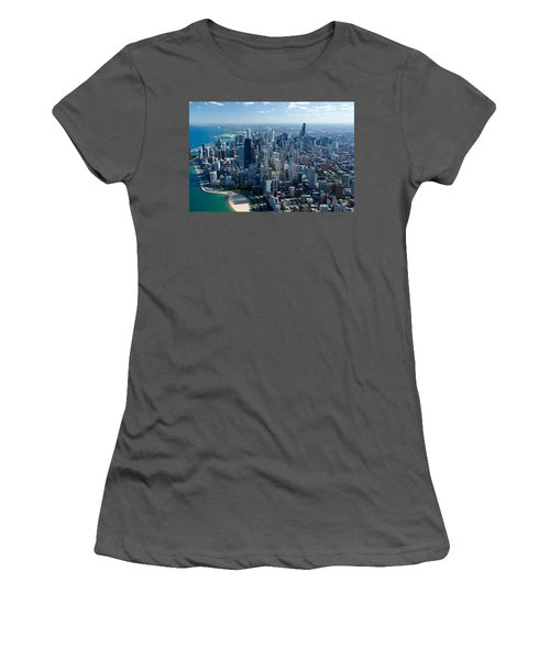 Aerial View Of A City, Lake Michigan Women's T-Shirt (Athletic Fit)