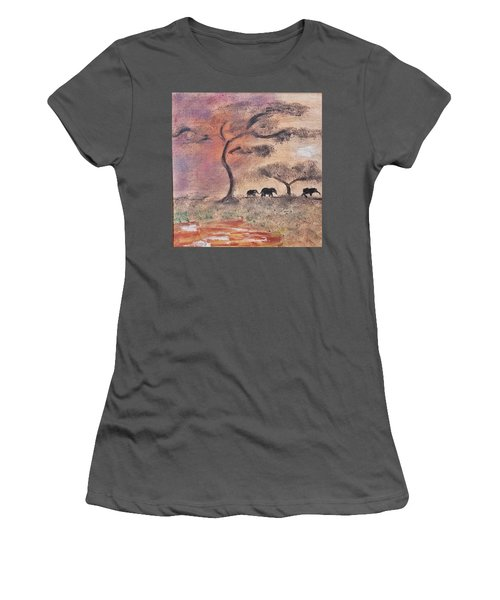 African Landscape Three Elephants And Banya Tree At Watering Hole With Mountain And Sunset Grasses S Women's T-Shirt (Athletic Fit)