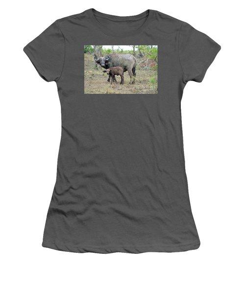 African Safari Mother And Baby Buffalo Women's T-Shirt (Junior Cut) by Eva Kaufman