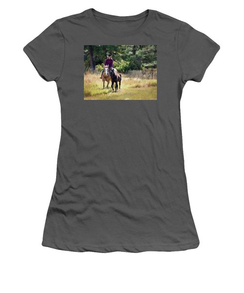 Afternoon Ride In The Sun - Cowgirl Riding Palomino Horse With Foal Women's T-Shirt (Athletic Fit)