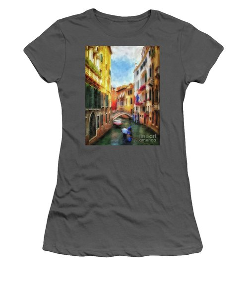 Women's T-Shirt (Athletic Fit) featuring the digital art Ahh Venezia Painterly by Lois Bryan
