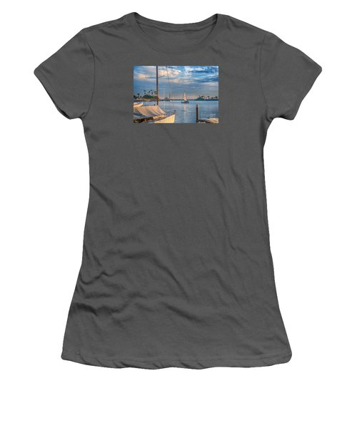 Alamitos Bay Inlet Sailboat Women's T-Shirt (Junior Cut) by David Zanzinger