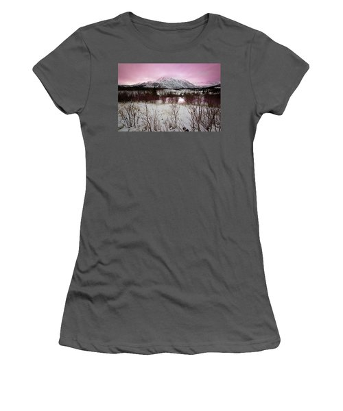 Alaska Range Pink Sky Women's T-Shirt (Athletic Fit)
