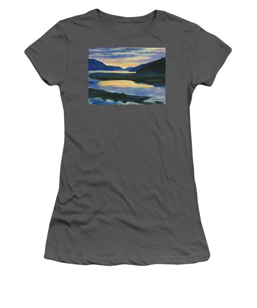 Women's T-Shirt (Athletic Fit) featuring the painting Alaska Sunset, Juneau by Yulia Kazansky