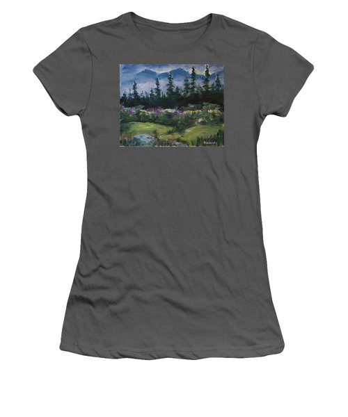 Women's T-Shirt (Athletic Fit) featuring the painting Alaskan Woods by Yulia Kazansky