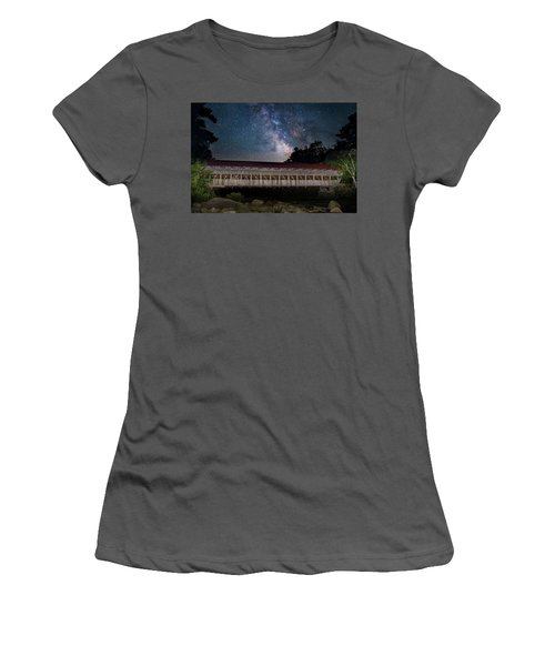 Albany Covered Bridge Under The Milky Way Women's T-Shirt (Athletic Fit)