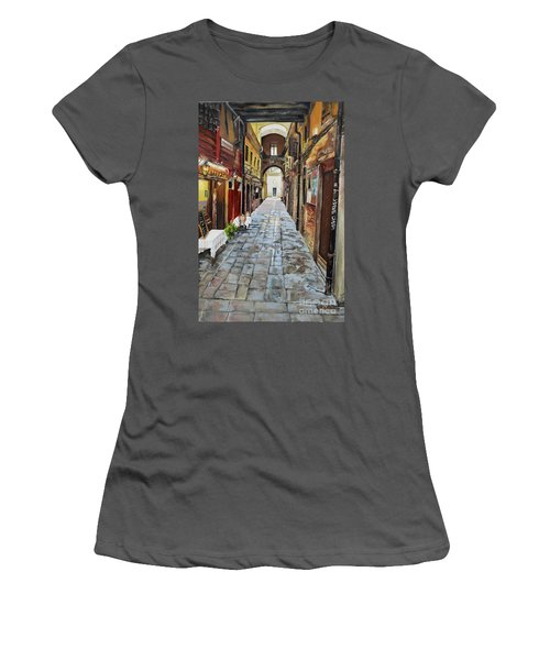 Women's T-Shirt (Athletic Fit) featuring the painting Alley On Parangon In Venice by Jan Dappen