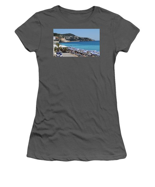 Women's T-Shirt (Junior Cut) featuring the painting Along The Beach In Nice Looking Over Toward Monaco by Rod Jellison