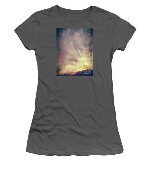 Women's T-Shirt (Athletic Fit) featuring the photograph Alps With Dramatic Sky by Silvia Ganora