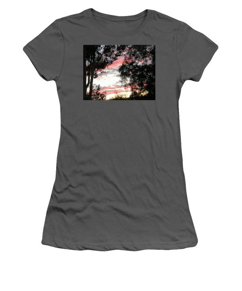 Amazing Clouds Black Trees Women's T-Shirt (Athletic Fit)