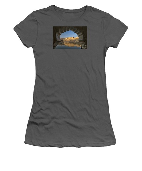 Women's T-Shirt (Athletic Fit) featuring the photograph Amber Fort Reflection by Yew Kwang