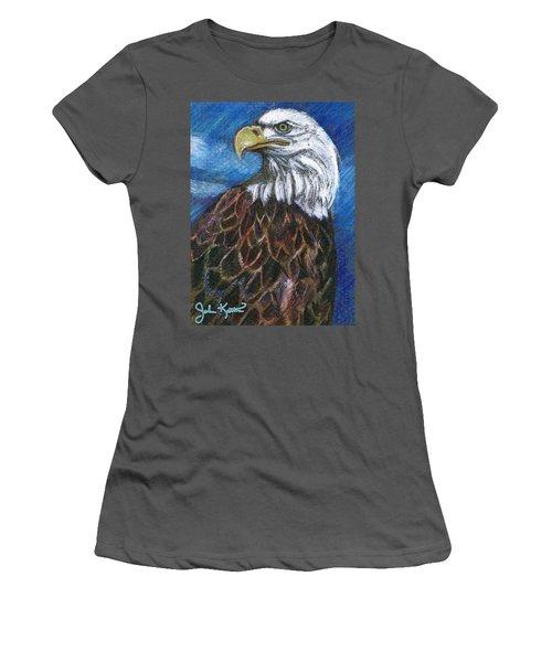 American Bald Eagle Women's T-Shirt (Junior Cut) by John Keaton