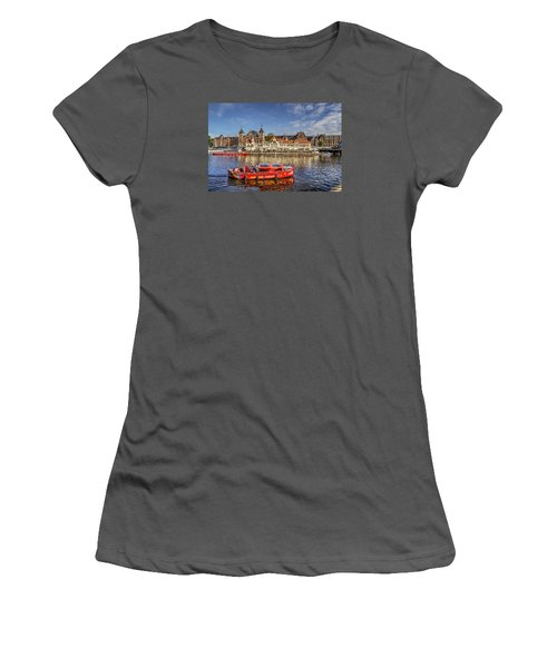 Women's T-Shirt (Junior Cut) featuring the photograph Amsterdam Waterfront by Uri Baruch