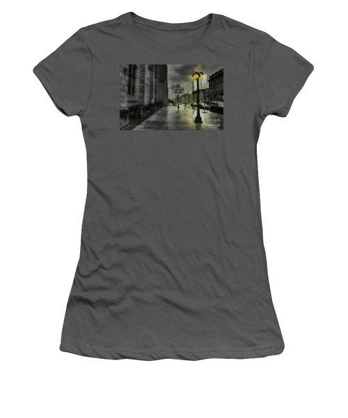 Women's T-Shirt (Junior Cut) featuring the mixed media An Evening In Paris by Jim  Hatch