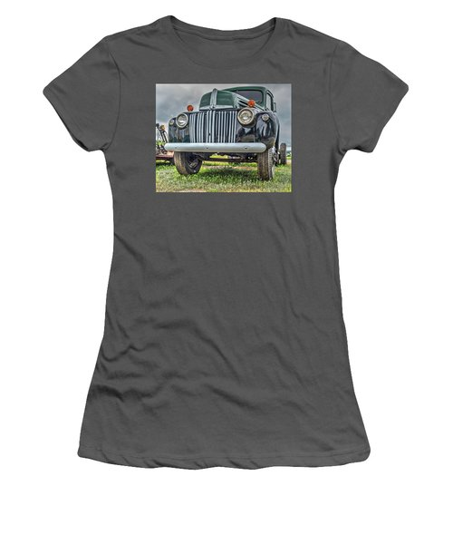 Women's T-Shirt (Athletic Fit) featuring the photograph An Old Green Ford Truck by Guy Whiteley