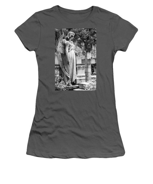 Angel With Cross Of Bonaventure Cemetery Women's T-Shirt (Junior Cut) by Steven Bateson