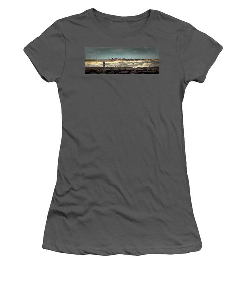 Angry Surf At Indian River Inlet Women's T-Shirt (Athletic Fit)