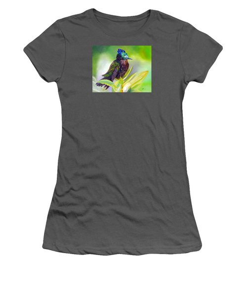 Antillean Crested Hummingbird Women's T-Shirt (Junior Cut) by LaVonne Hand
