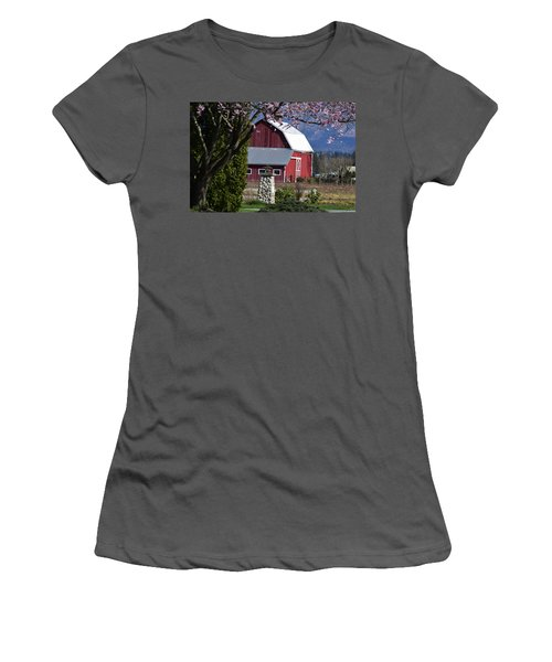 Apple Tree Pink And Barn Red Women's T-Shirt (Athletic Fit)