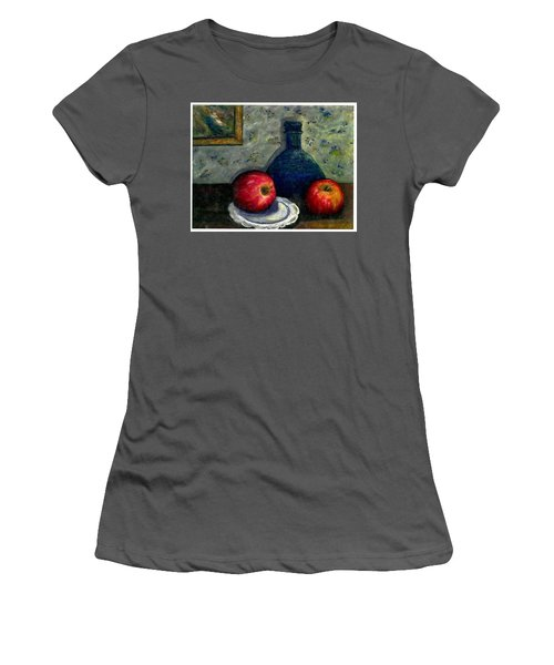 Women's T-Shirt (Junior Cut) featuring the painting Apples And Bottles by Gail Kirtz