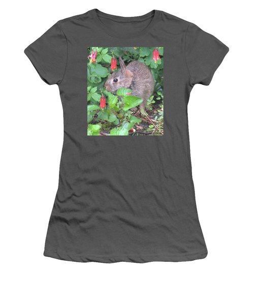 April Rabbit And Columbine Women's T-Shirt (Junior Cut) by Peg Toliver