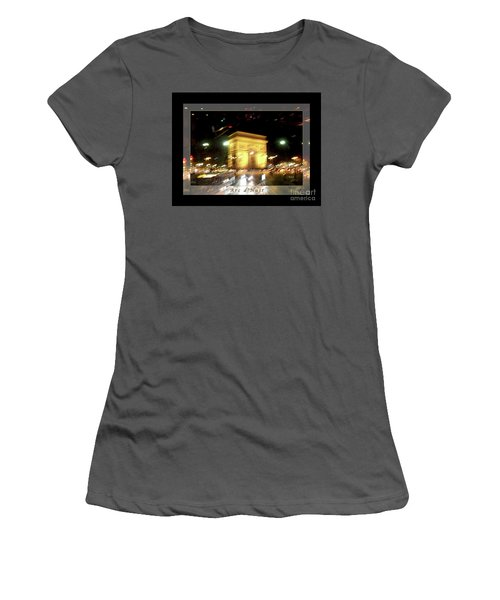 Arc De Triomphe By Bus Tour Greeting Card Poster V1 Women's T-Shirt (Athletic Fit)