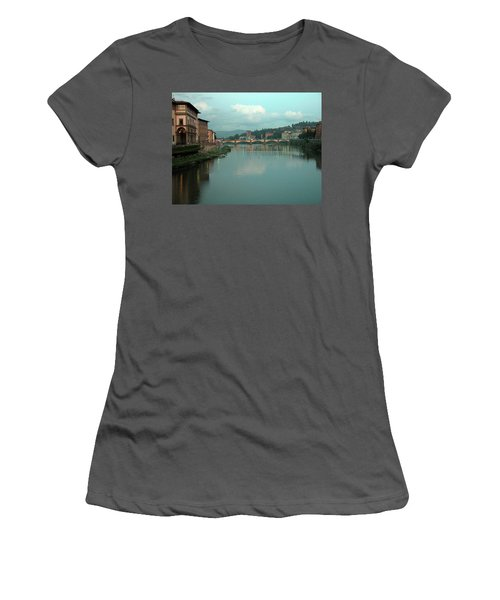 Women's T-Shirt (Junior Cut) featuring the photograph Arno River, Florence, Italy by Mark Czerniec