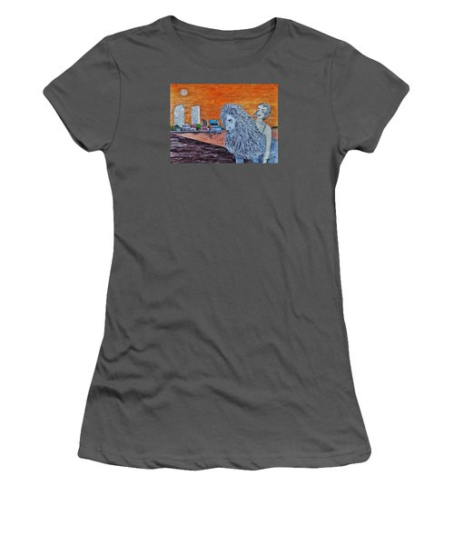 Women's T-Shirt (Junior Cut) featuring the painting Arrival To San Diego by Jasna Gopic