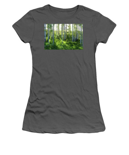 Women's T-Shirt (Junior Cut) featuring the photograph Aspen Morning 3 by Marie Leslie