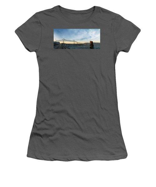 Astoria Megler Bridge By Riverwalk Panorama Women's T-Shirt (Athletic Fit)