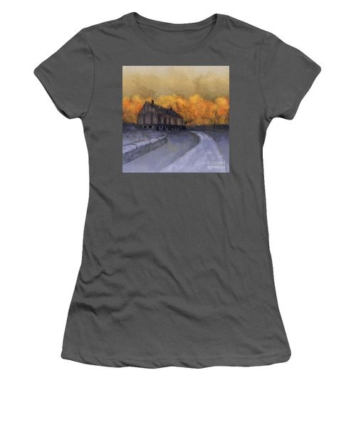 Women's T-Shirt (Athletic Fit) featuring the digital art At Just Dawn by Lois Bryan