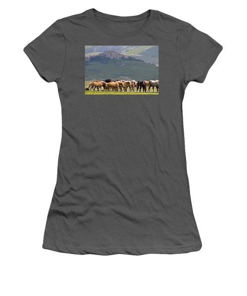 Women's T-Shirt (Junior Cut) featuring the photograph Castelluccio Di Norcia, Parko Nazionale Dei Monti Sibillini, Italy by Dubi Roman