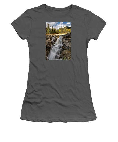 Athabasca Falls Women's T-Shirt (Junior Cut) by John Gilbert