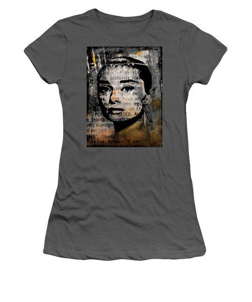 Women's T-Shirt (Junior Cut) featuring the mixed media Audrey Hepburn #2 by Kim Gauge