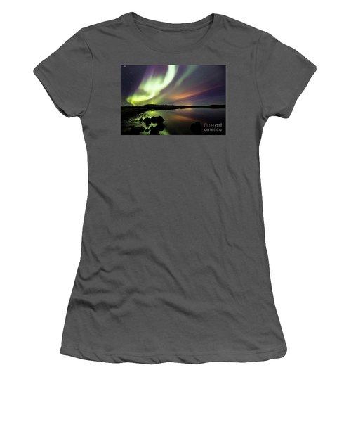 Aurora Borealis Over Thinvellir Women's T-Shirt (Junior Cut) by Gunnar Orn Arnason