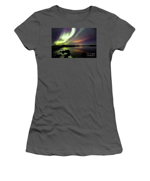 Aurora Borealis Over Thinvellir Women's T-Shirt (Athletic Fit)