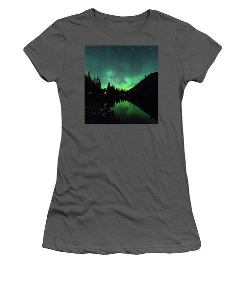 Aurora On Moraine Lake Women's T-Shirt (Junior Cut) by Alex Lapidus