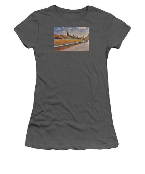 Women's T-Shirt (Junior Cut) featuring the painting Autumn Along The Griend by Nop Briex