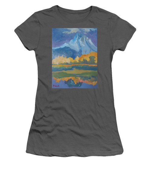 Women's T-Shirt (Junior Cut) featuring the painting Autumn At Mt. Moran by Francine Frank