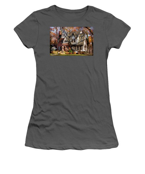 Women's T-Shirt (Athletic Fit) featuring the photograph Autumn - Gnome Home by Mike Savad