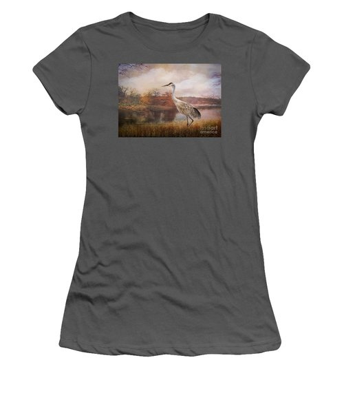 Autumn Lake Crane Women's T-Shirt (Athletic Fit)