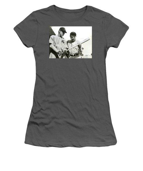 Babe Ruth And Lou Gehrig Women's T-Shirt (Junior Cut) by Jon Neidert