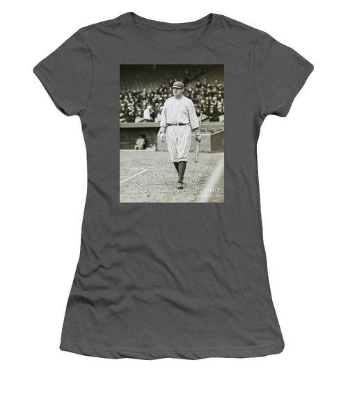 Babe Ruth Going To Bat Women's T-Shirt (Junior Cut) by Jon Neidert