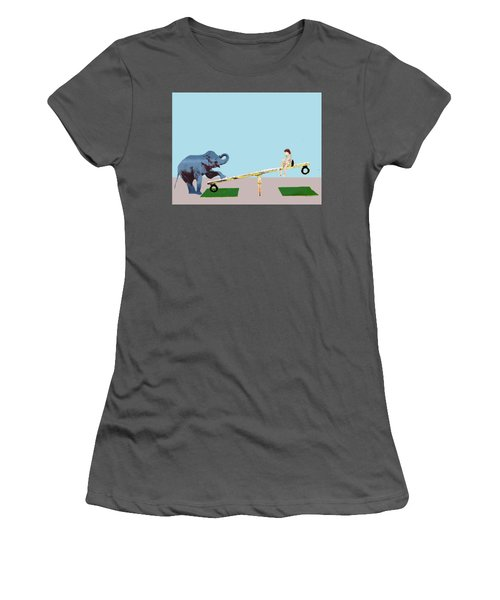 Baby Elephant See Saw Women's T-Shirt (Athletic Fit)